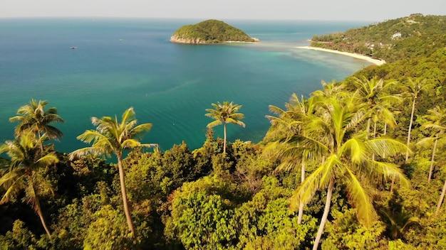 空中ドローン小島パンガン島タイ。エキゾチックなビーチの夏の日。上からココヤシの木。