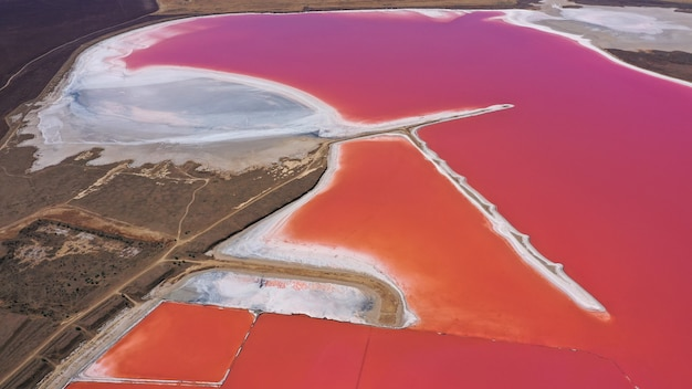 Aerial drone top down photo of a natural pink lake and coast kuyalnik in odessa