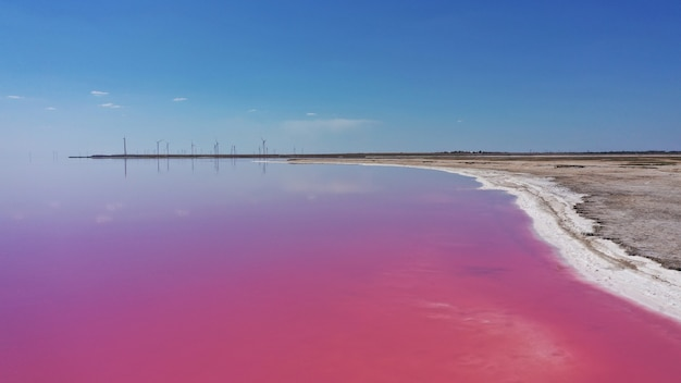 Aerial drone top down photo of a natural pink lake
