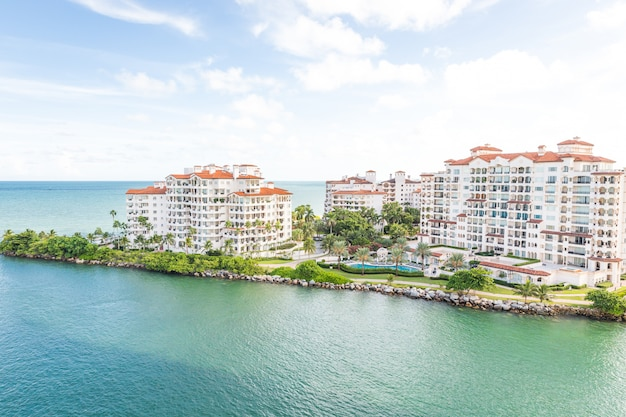 Aerial drone view of apartments in fisher island, miami