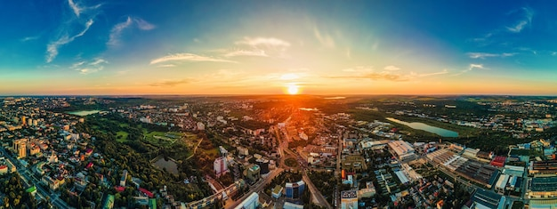 Aerial drone view of chisinau downtown panorama view of multiple buildings roads parks