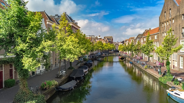 Aerial drone view of leiden town cityscape from above, typical dutch city skyline with canals and houses, holland, netherlands