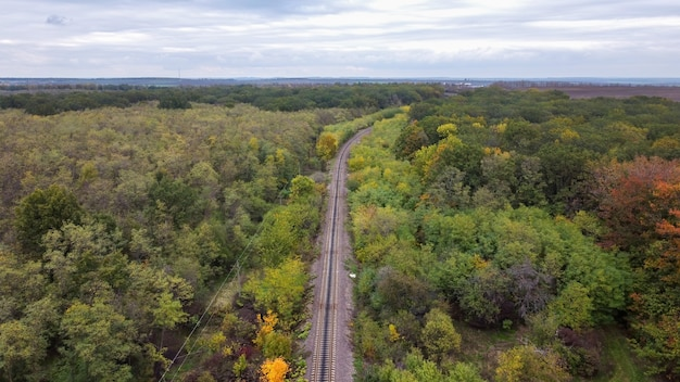 Aerial drone view of nature in moldova, a railway passing through a dense forest, cloudy sky