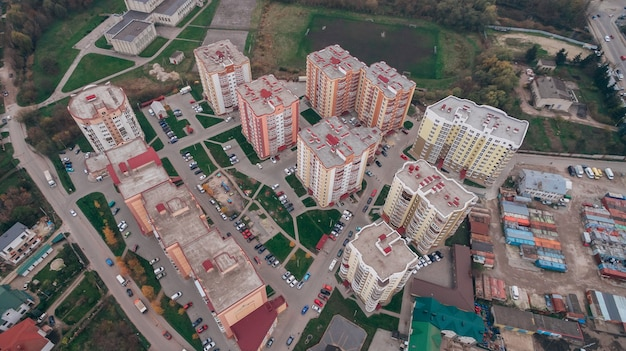 Aerial drone view of new microdistrict in the town