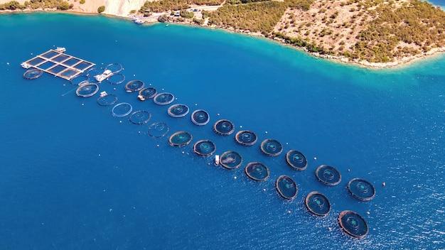 양식장 zakynthos, 그리스의 공중 무인 항공기 보기