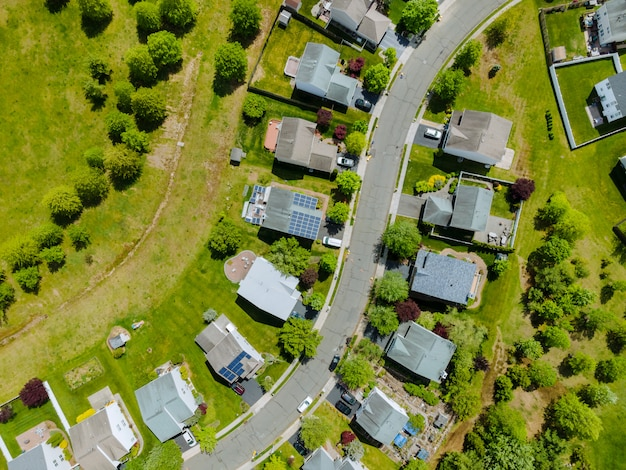 Aerial drone view of small town residential area with brooklyn new york ny