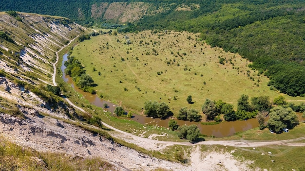 Aerial drone view of a valley in moldova