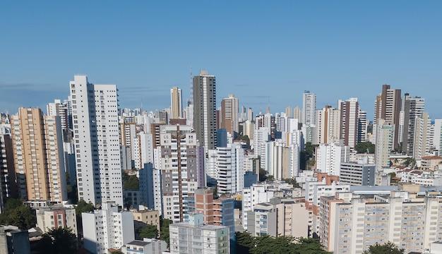 Aerial drone view view of buildings urban density
