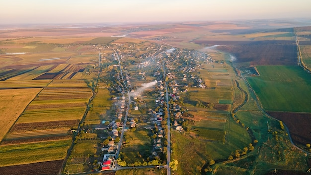 Aerial drone view of village in moldova at sunset