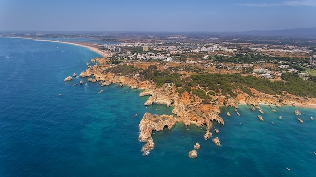 Aerial. exquisite beaches reefs submarino, and praia joao de arens. portimao