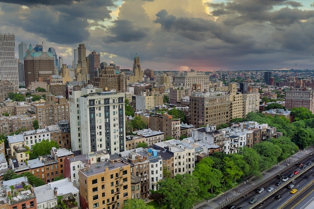 Aerial fly over of brooklyn rooftops with beautiful brooklyn apartments at spectacular buildings