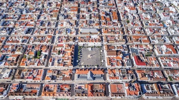 Aerial. geometric shapes of the village vila real santo antonio from the sky