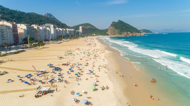 Aerial image of ipanema beach in rio de janeiro. 4k.