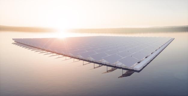 Аэрофотоснимок плавучей фермы солнечной электростанции на спокойном озере 3d-рендеринг