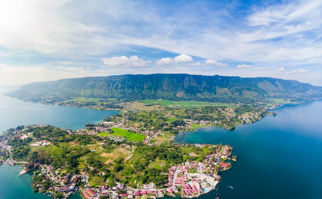 Aerial: lake toba and samosir island view from above sumatra indonesia.