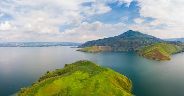 Aerial: lake toba and samosir island view from above sumatra indonesia