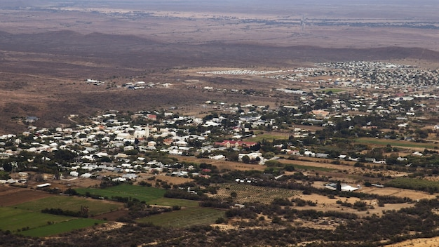 Aerial landscape shot of the prince albert town in south africa
