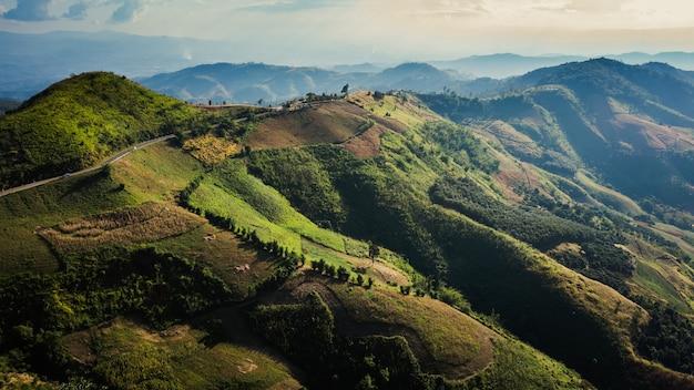 Aerial landscape view mountain paths rural road between the city at doi chang chiang rai thailand