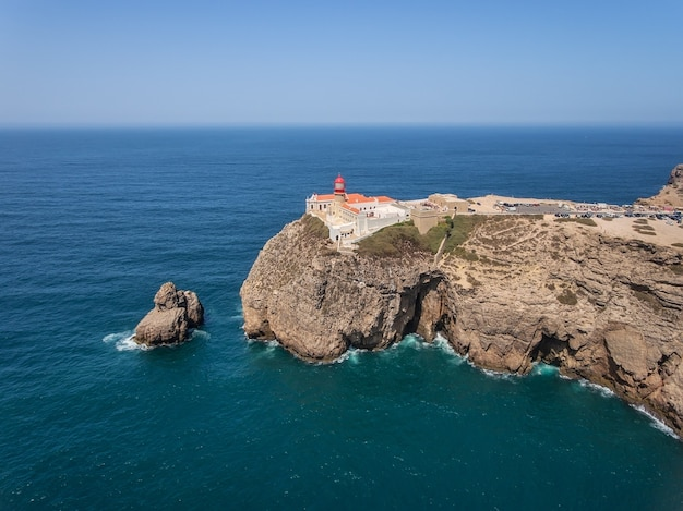 Aerial. lighthouse cabo sao vicente, drone filmed in sagres. portugal