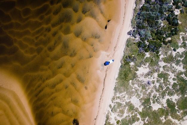 Ripresa aerea dall'alto di una barca sulla riva con alberi sul lato destro