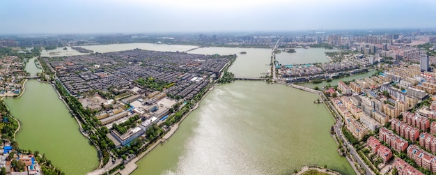 Aerial panorama of dongchang ancient city in liaocheng, shandong province