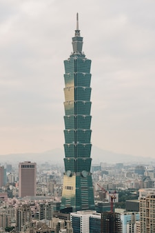Aerial panorama over downtown taipei with taipei 101 skyscraper