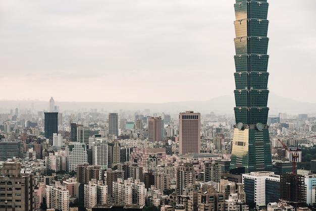 Aerial panorama over downtown taipei with taipei skyscraper