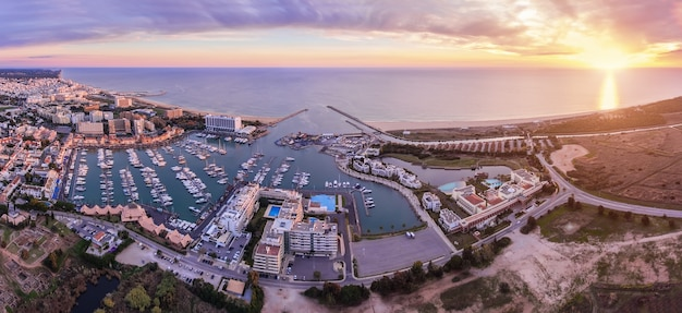 Aerial. panorama from the sky, tourist resort vilamoura.