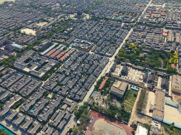 Воздушная панорама древнего города дунчан в ляочэн, провинция шаньдун Premium Фотографии
