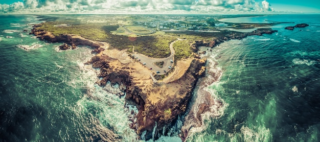 Aerial panorama of thunder point lookout and warrnambool