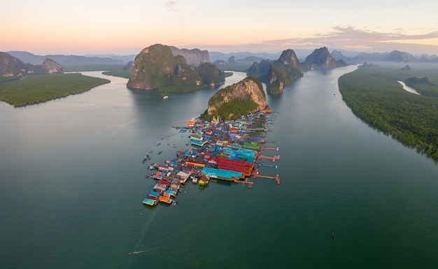 Aerial panorama view over ko panyi floating village in souther of thailand.