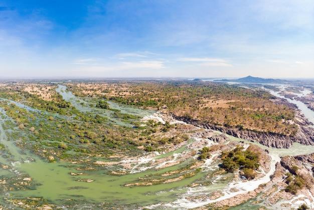 Aerial panoramic 4000 islands mekong river in laos, li phi waterfalls