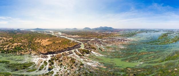 Aerial panoramic 4000 islands mekong river in laos