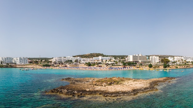 Aerial panoramic drone shot of fig tree bay at daylight