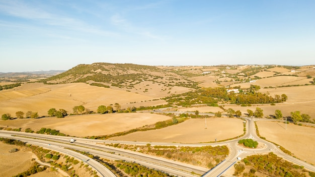 Aerial panoramic landscape view of a highway