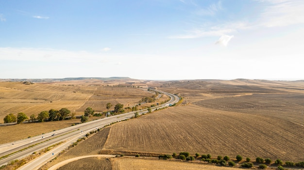 Aerial panoramic landscape view of a road