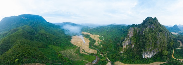 Aerial panoramic nam ou river nong khiaw muang ngoi laos, dramatic landscape scenic pinnacle cliff mountain range famous travel destination in south east asia