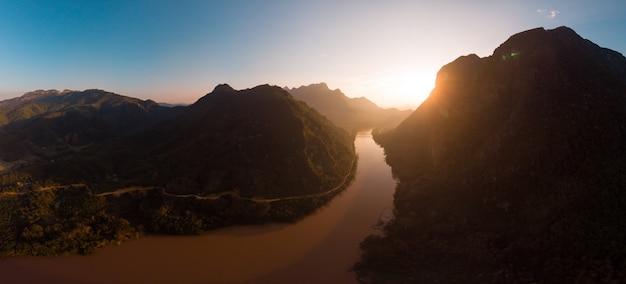 Aerial panoramic nam ou river nong khiaw muang ngoi laos,