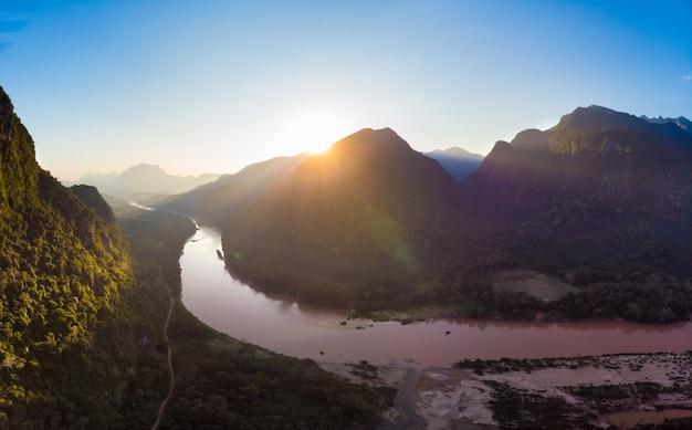 Aerial panoramic nam ou river nong khiaw muang ngoi laos