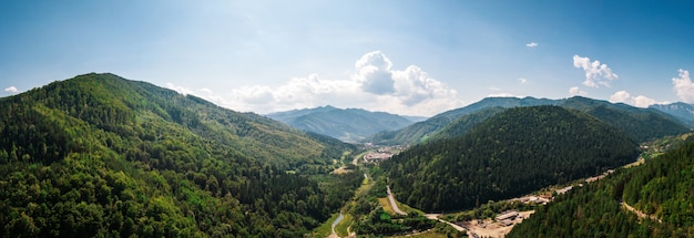 Aerial panoramic shot of mountains of romania