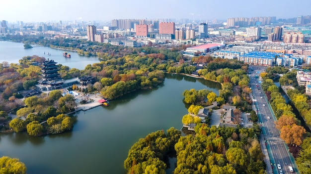 Aerial panoramic view of daming lake in jinan