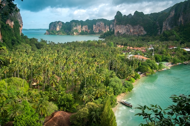 Aerial panoramic view from railay beach on sunny day