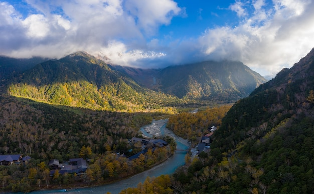 Aerial panoramic view over kamikochi, is a remote mountainous highland valley in the western region of nagano prefecture, japan.