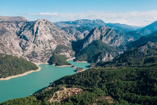 Vista aerea panoramica montagna, acqua, vegetazione