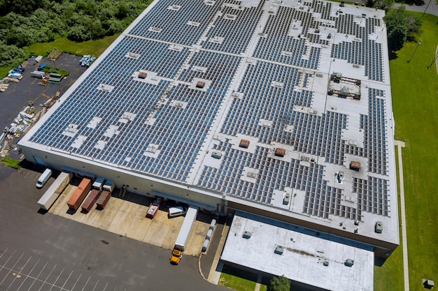 Aerial panoramic view rooftop on the solar panel energy for generating electricity