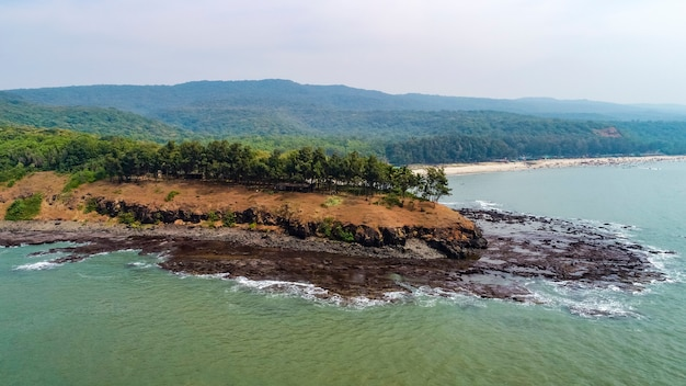 Aerial panoramic view of the sea side in india