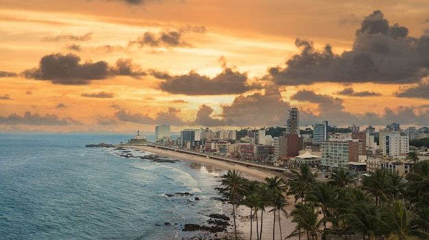 Aerial photo of barra beach in salvador bahia brazil.