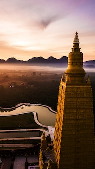 Aerial photo  of beautiful temples in the morning atmosphere, thailand .