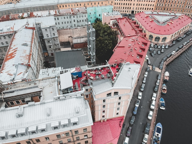 Aerial photo of the center of st. petersburg, roofs, river boats