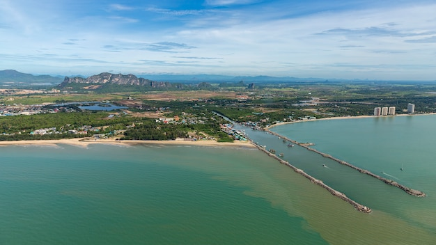Aerial photo of cha-am pier in  phetchaburi province, thailand